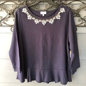 NWT Crown & Ivy Peplum Top